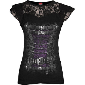 WAISTED CORSET - Lace Layered Cap Sleeve Top Black - Spiral USA
