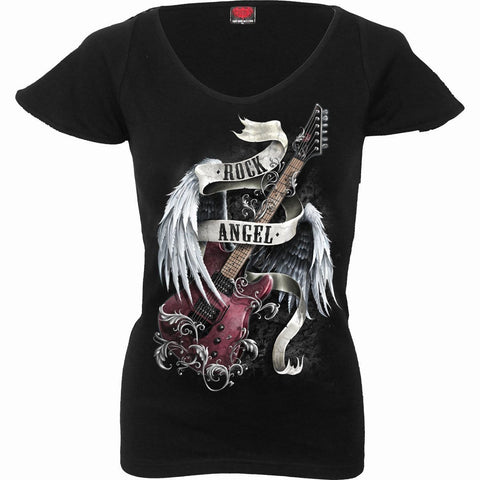 Image of ROCK ANGEL - Cap Sleeve V NeckTop Black - Spiral USA