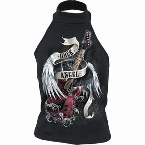 ROCK ANGEL - Halterneck Top Black - Spiral USA