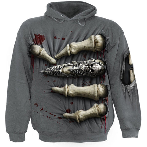 Image of DEATH GRIP - Hoody Charcoal - Spiral USA