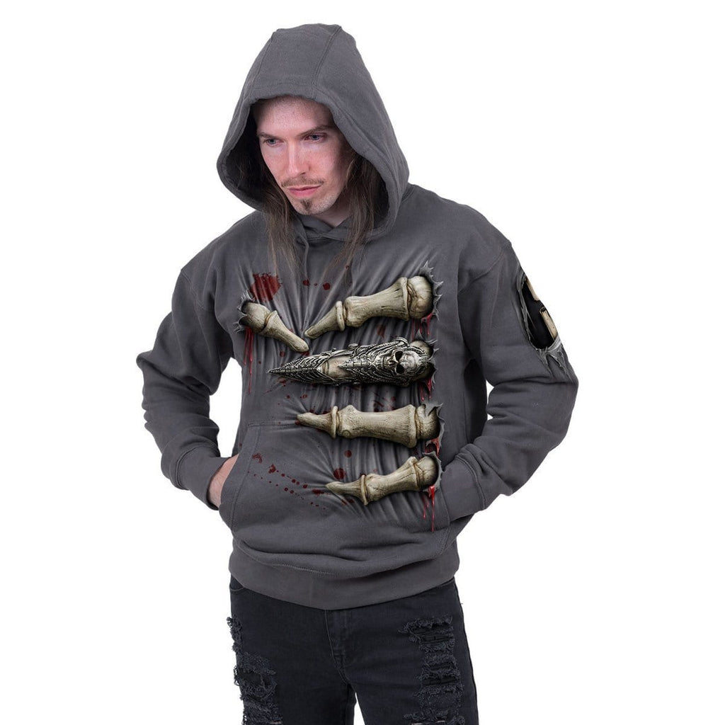DEATH GRIP - Hoody Charcoal - Spiral USA