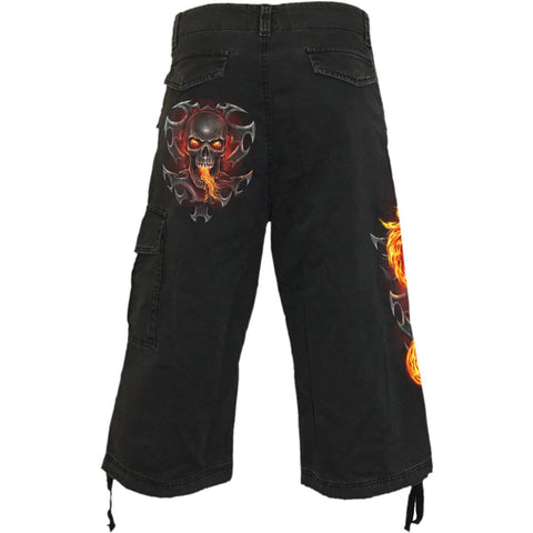 Image of FIRE DRAGON - Vintage Cargo Shorts 3/4 Long Black - Spiral USA