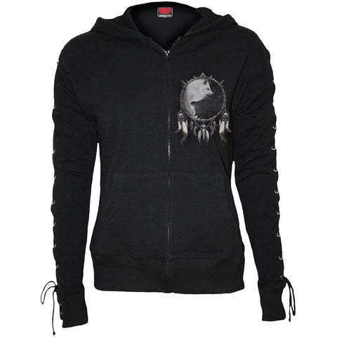 Image of WOLF CHI - Laceup Full Zip Glitter Hoody Black