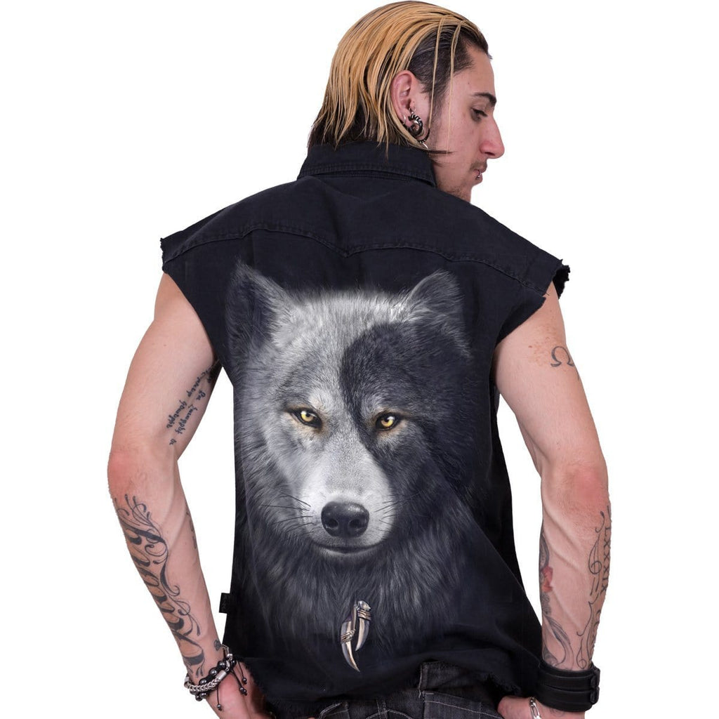 WOLF CHI - Sleeveless Stone Washed Worker Black - Spiral USA