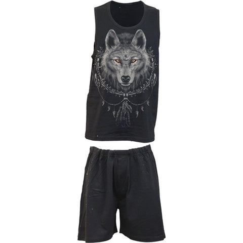 Image of WOLF CHI - 4pc Mens Gothic Pyjama Set - Spiral USA