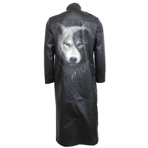 WOLF CHI - Gothic Trench Coat PU-Leather with Full Zip - Spiral USA