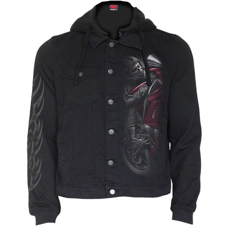DEMON BIKER - Hooded Shacket Black - Spiral USA