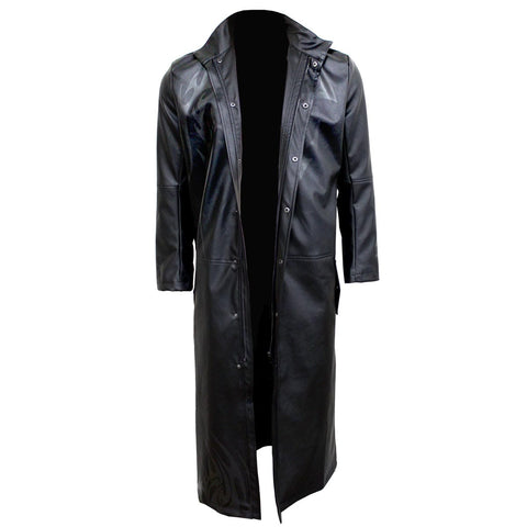 Image of DEATH BONES - Gothic Trench Coat PU-Leather with Full Zip - Spiral USA
