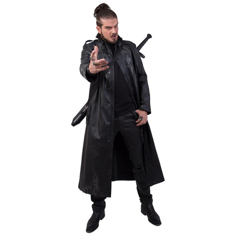 DEATH BONES - Gothic Trench Coat PU-Leather with Full Zip - Spiral USA