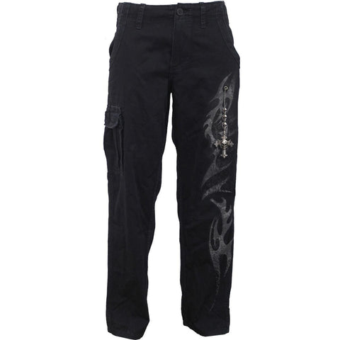 Image of TRIBAL CHAIN - Vintage Cargo Trousers Black - Spiral USA