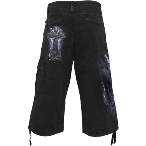 Image of ROCK ETERNAL - Vintage Cargo Shorts 3/4 Long Black - Spiral USA