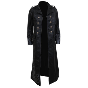JUST TRIBAL - Gothic Trench Coat PU-Leather Corset Back - Spiral USA