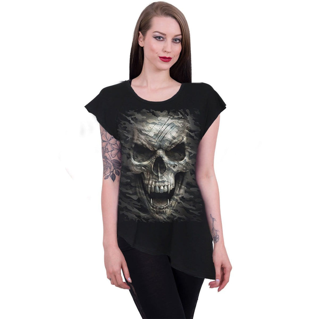 CAMO-SKULL - Raw Neck Asymmetric Viscose Top - Spiral USA