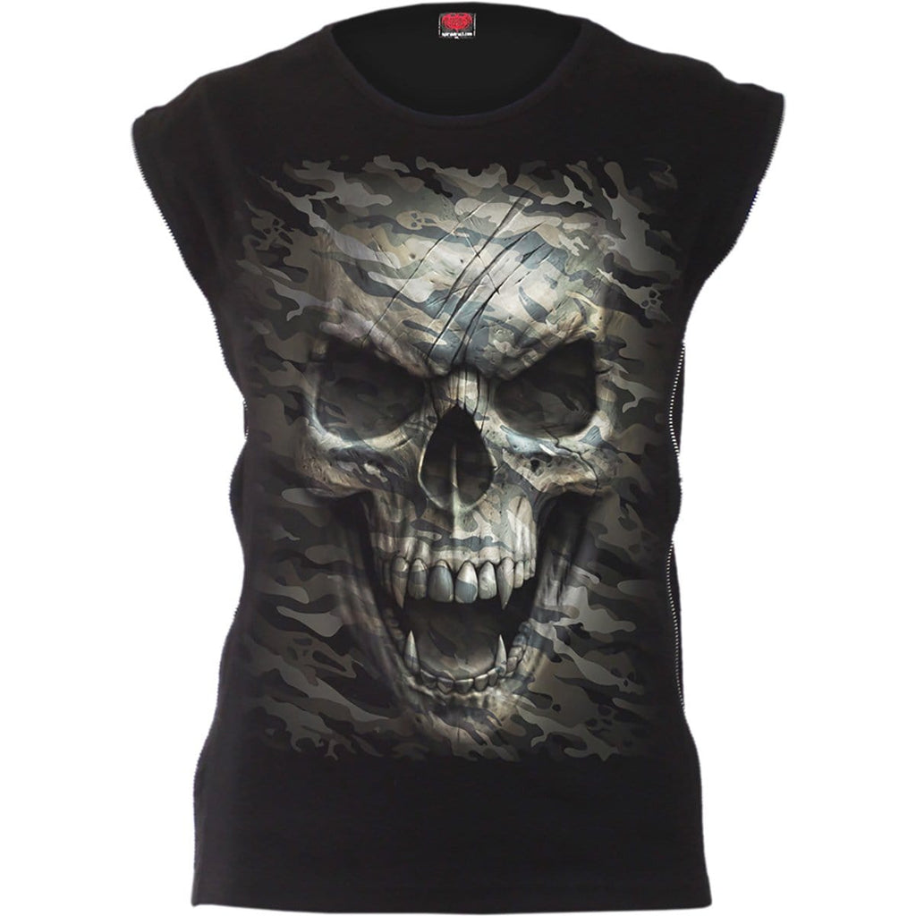 CAMO-SKULL - Zip Side Ribbed Gothic Ladies Top - Spiral USA