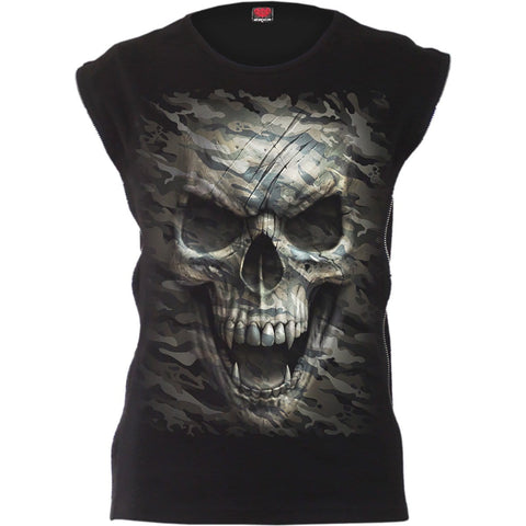 Image of CAMO-SKULL - Zip Side Ribbed Gothic Ladies Top - Spiral USA