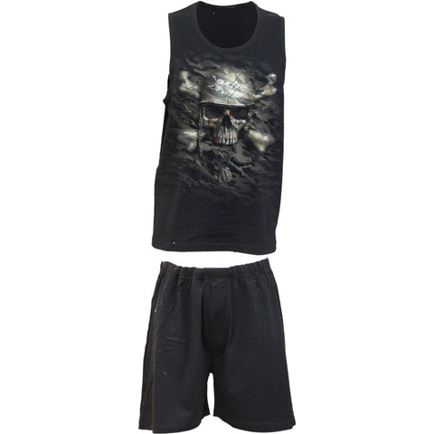 Image of CAMO-SKULL - 4pc Mens Gothic Pyjama Set - Spiral USA