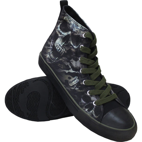 Image of CAMO-SKULL - Sneakers - Mens High Top Laceup