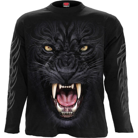 Image of TRIBAL PANTHER - Longsleeve T-Shirt Black - Spiral USA