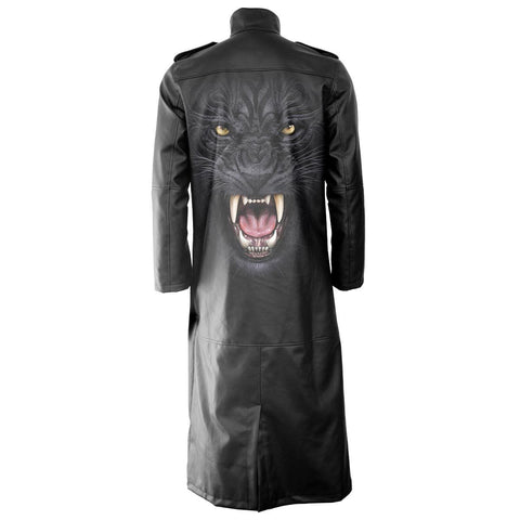 Image of TRIBAL PANTHER - Gothic Trench Coat PU-Leather with Full Zip - Spiral USA