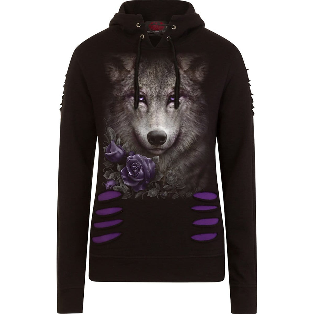 WOLF ROSES - Large Hood Ripped Hoody Purple-Black - Spiral USA