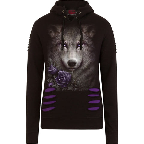 Image of WOLF ROSES - Large Hood Ripped Hoody Purple-Black - Spiral USA