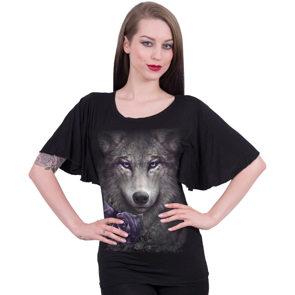 WOLF ROSES - Boat Neck Bat Sleeve Top Black - Spiral USA