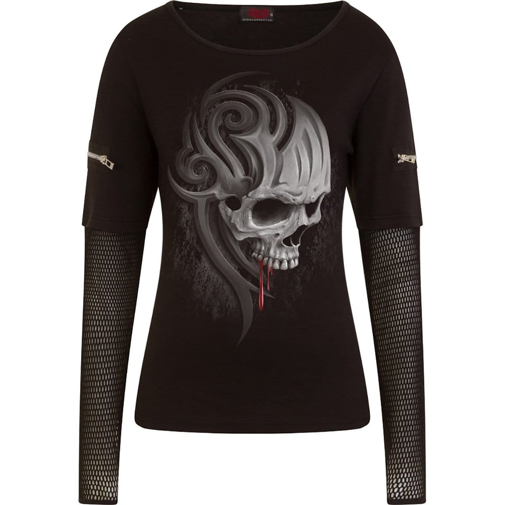 DEATH ROAR - Mesh Sleeve Zip Shoulder Long Sleeve Ladies - Spiral USA