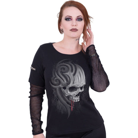 Image of DEATH ROAR - Mesh Sleeve Zip Shoulder Long Sleeve Ladies - Spiral USA
