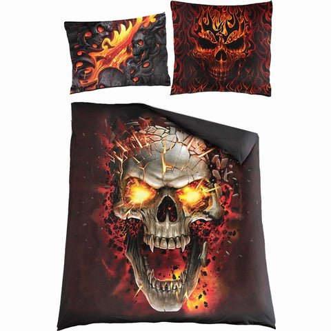 Image of SKULL BLAST - Double Duvet Cover + UK And EU Pillow case - Spiral USA
