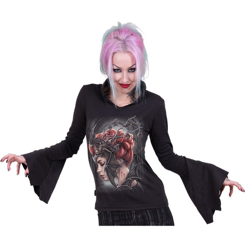 QUEEN OF THE NIGHT - High Neck Goth Top Black