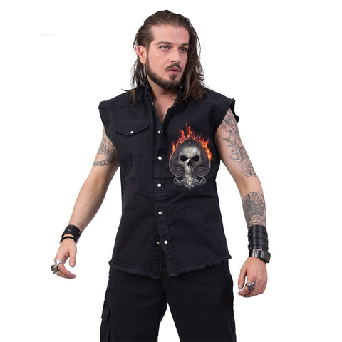 ACE REAPER - Sleeveless Stone Washed Worker Black - Spiral USA