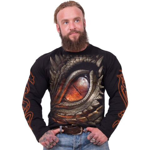 Image of DRAGON EYE - Longsleeve T-Shirt Black - Spiral USA
