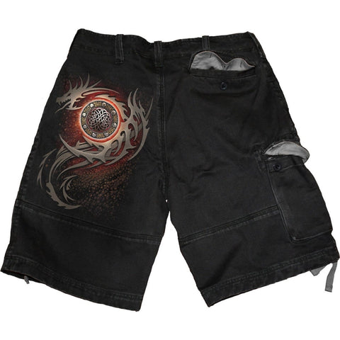 DRAGON EYE - Vintage Cargo Shorts Black - Spiral USA
