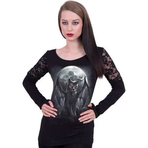 VAMP CAT - Shoulder Lace Top Black