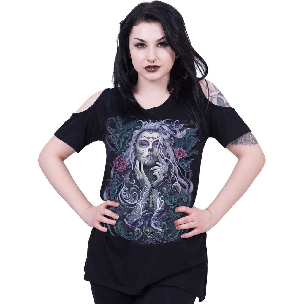 ROCOCO SKULL - Cold Shoulder Goth Bottom Top - Spiral USA