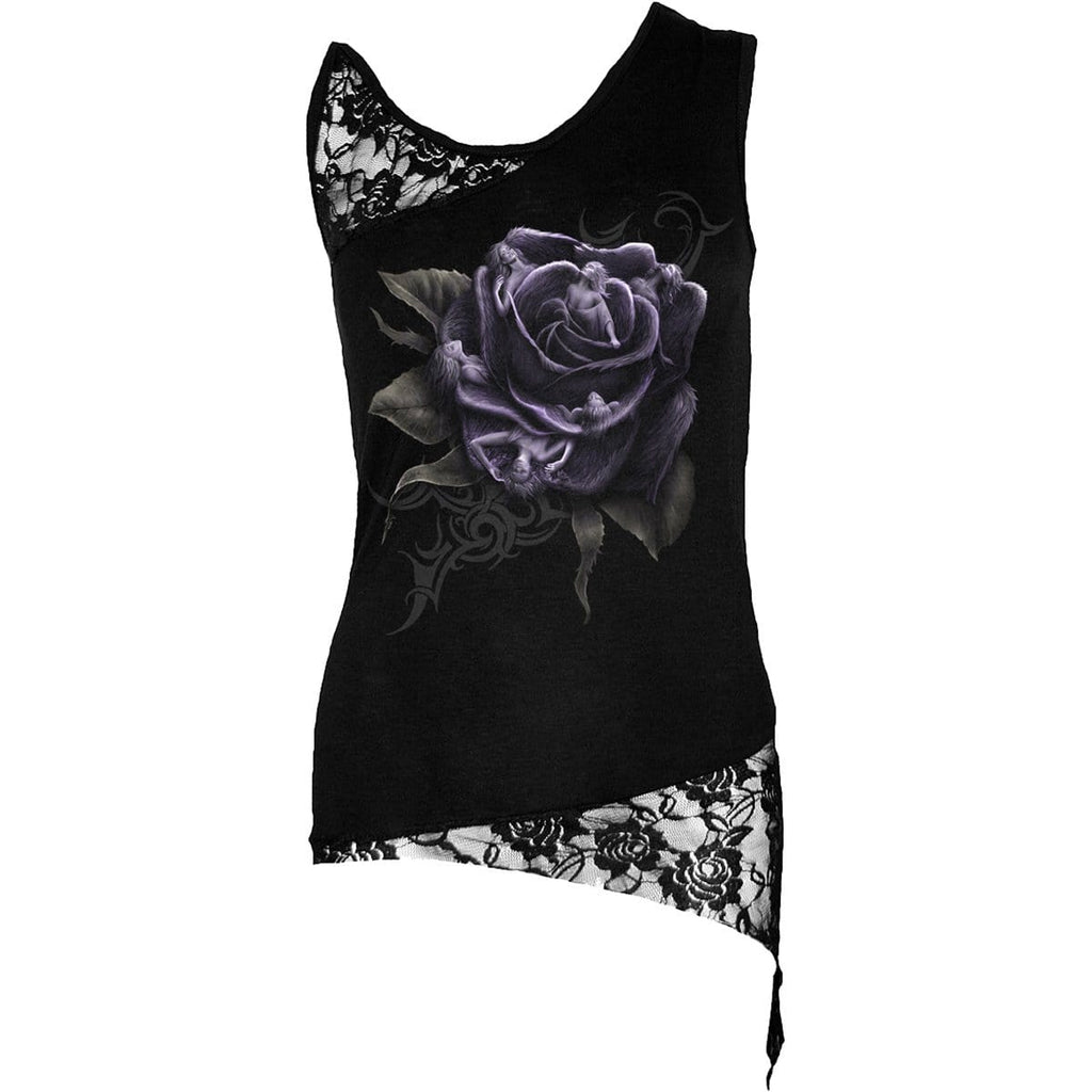 ROSE ANGELS - Adj Shoulder Lace Top Black - Spiral USA