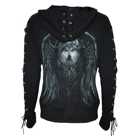 Image of WOLF SPIRIT - Laceup Full Zip Glitter Hoody Black - Spiral USA