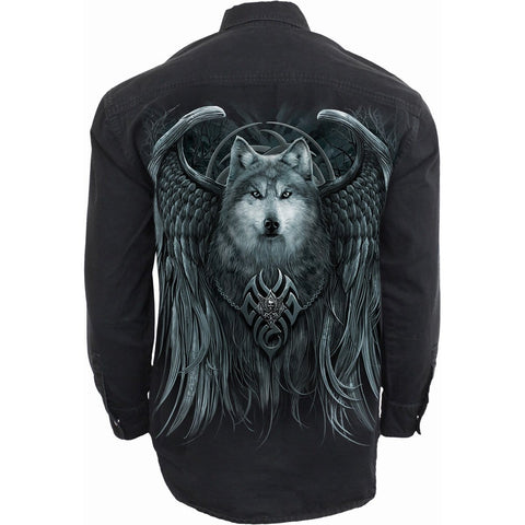 WOLF SPIRIT - Longsleeve Stone Washed Worker Black - Spiral USA
