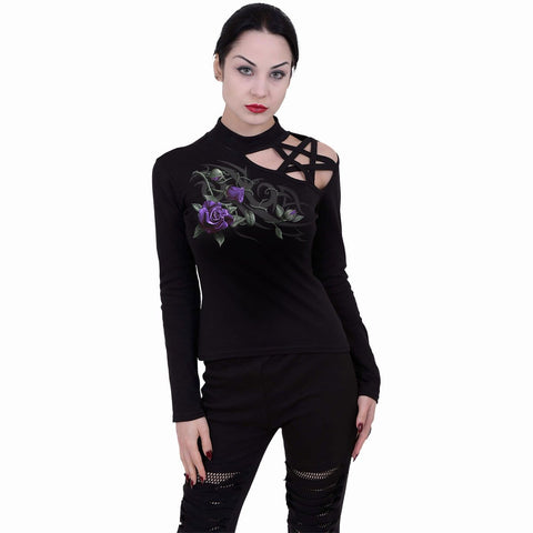 Image of TRIBAL ROSE - Pentagram Shoulder Longsleeve Top - Spiral USA