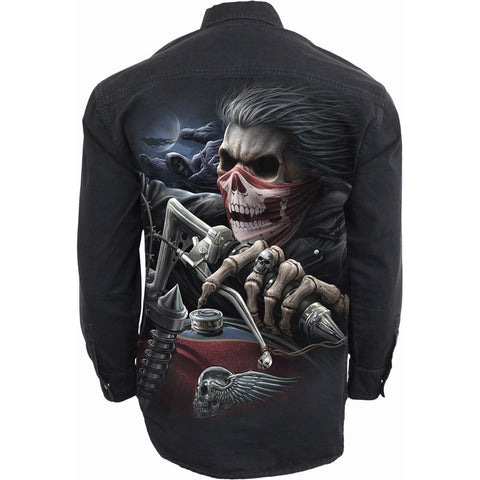 Image of SOUL RIDER - Longsleeve Stone Washed Worker Black - Spiral USA
