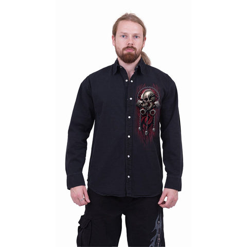 SOUL RIDER - Longsleeve Stone Washed Worker Black - Spiral USA