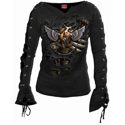 Image of STEAM PUNK RIPPED - Laceup Sleeve Top Black - Spiral USA