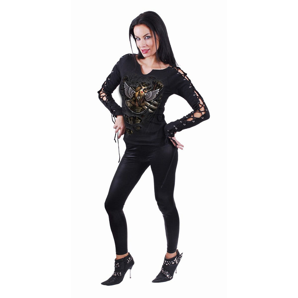 STEAM PUNK RIPPED - Laceup Sleeve Top Black - Spiral USA