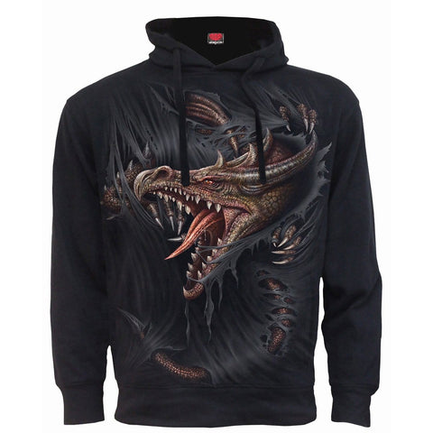 Image of BREAKING OUT - Side Pocket Stitched Hoody Black - Spiral USA