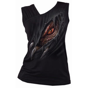 BREAKING OUT - Gathered Shoulder Slant Vest Black - Spiral USA