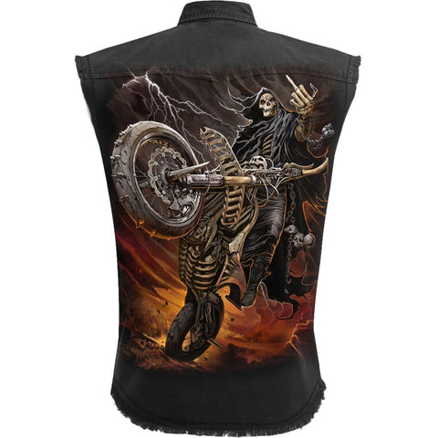 BIKE LIFE - Sleeveless Stone Washed Worker Black - Spiral USA