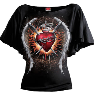 SACRED WINGS - Boat Neck Bat Sleeve Top Black - Spiral USA
