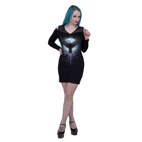 Image of CROW MOON - 2in1 Fine Mesh Shoulder Dress - Spiral USA