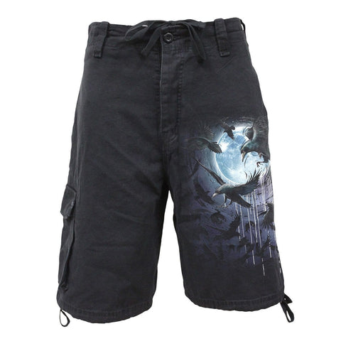 Image of CROW MOON - Vintage Cargo Shorts Black - Spiral USA