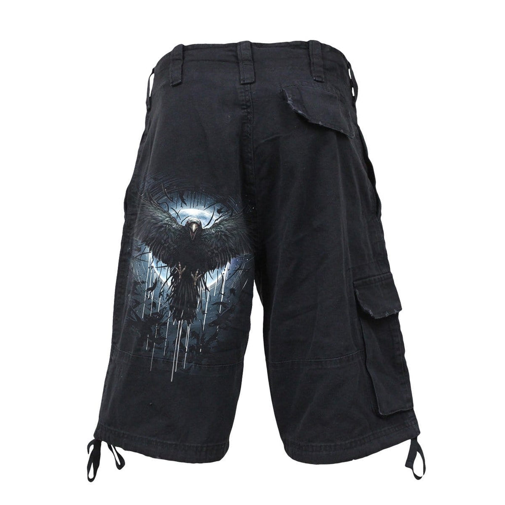 CROW MOON - Vintage Cargo Shorts Black - Spiral USA